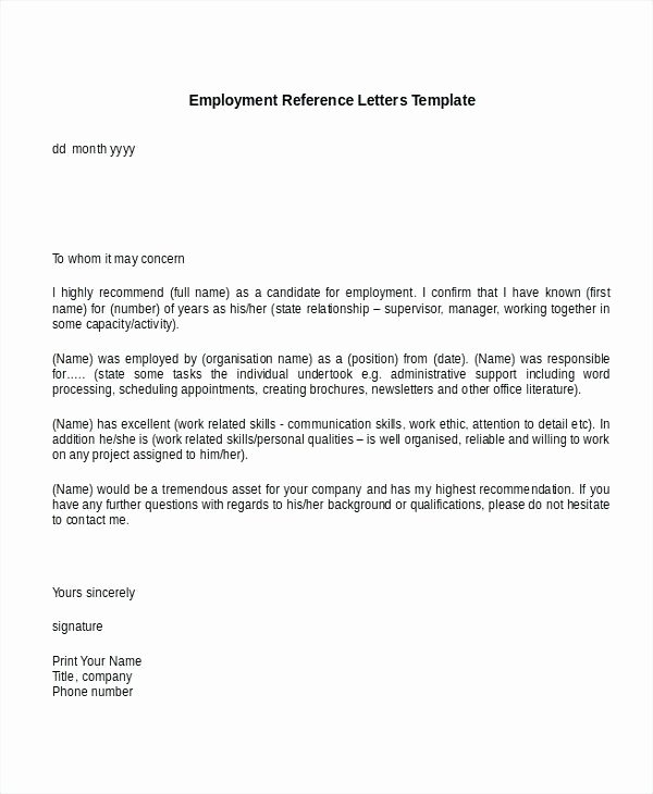 Letters Of Reference for Employment Inspirational 9 Reference Letter for Employment Examples Pdf