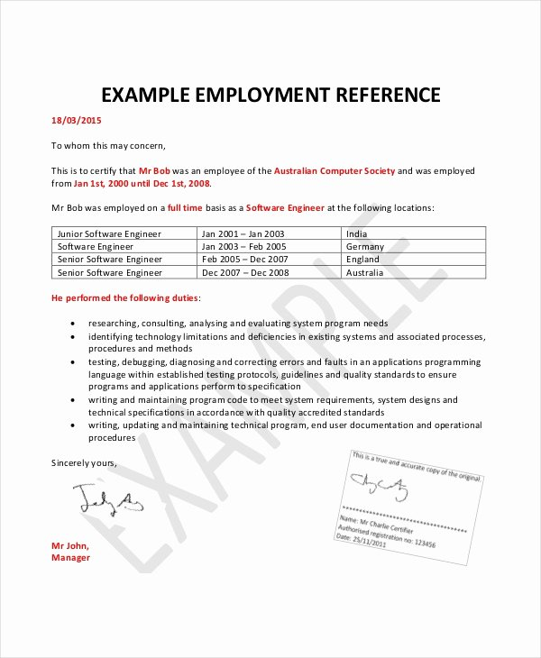 Letters Of Reference for Employment Inspirational Employment Reference Letter 11 Free Word Excel Pdf