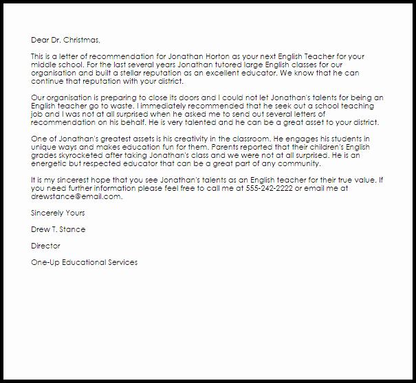 Letters Of Reference for Teachers Lovely English Teacher Re Mendation Letter Example