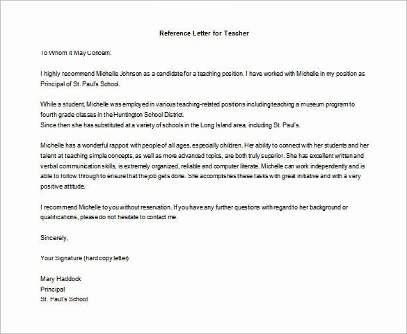 Letters Of Reference for Teachers Lovely Letter Of Re Mendation for Teacher – 12 Free Word