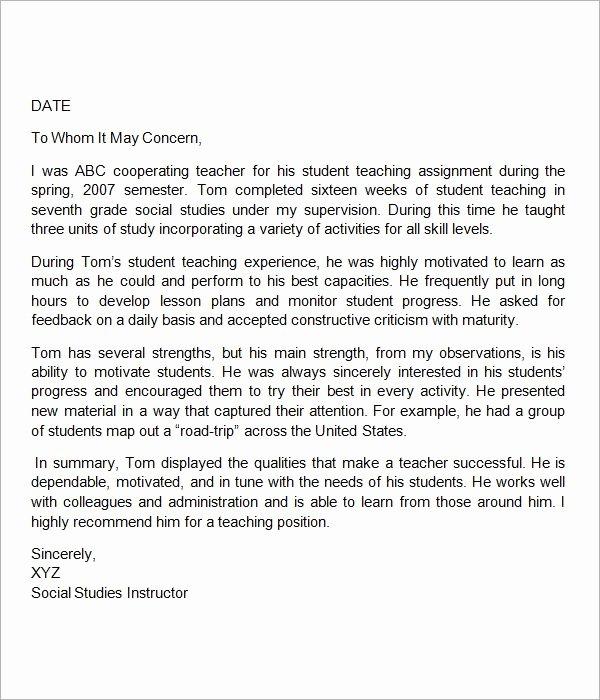 Letters Of Reference for Teachers Luxury Sample Letter Of Re Mendation for Teacher