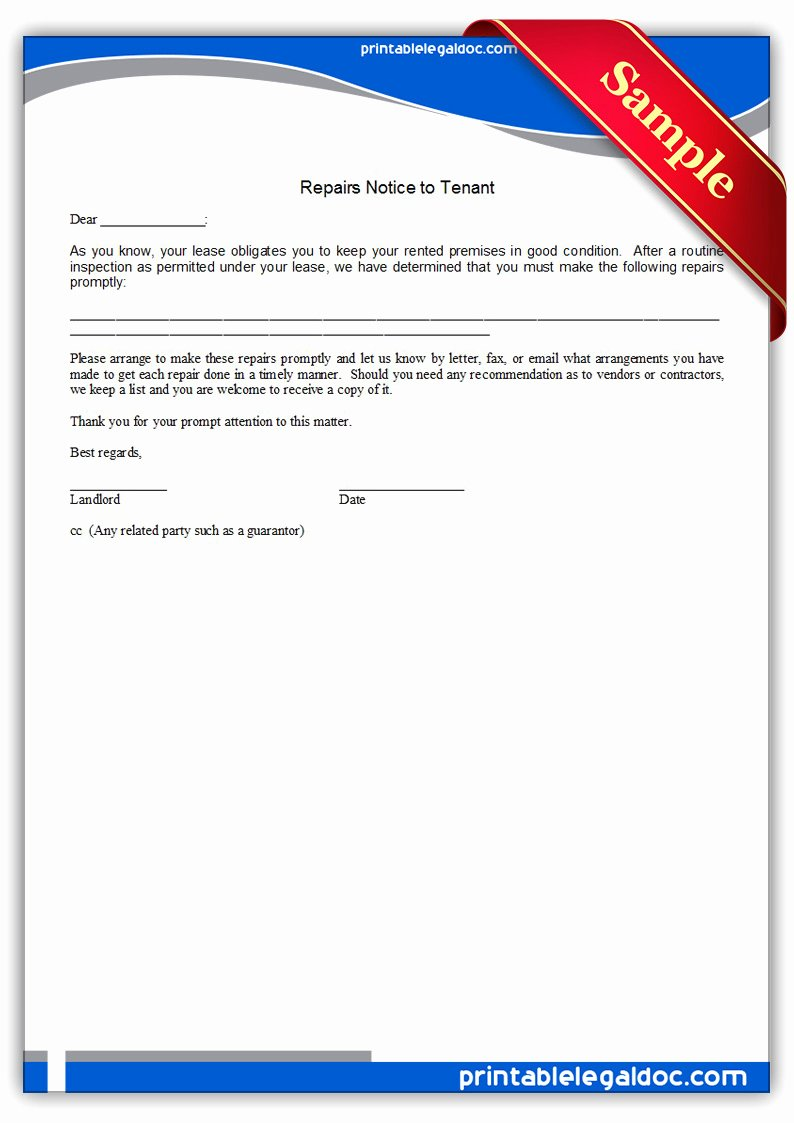 Letters to Landlords About Repairs Beautiful Free Printable Repairs Notice to Tenant form Generic