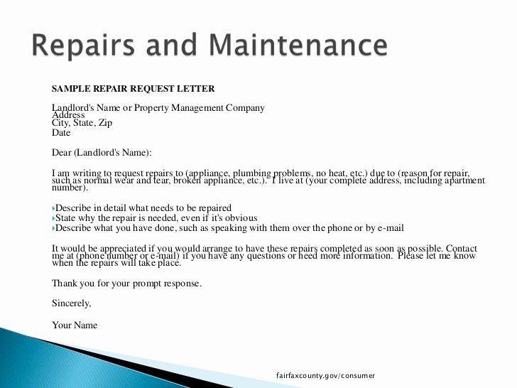 Letters to Landlords About Repairs New What Tenants Need to Know In Fairfax County