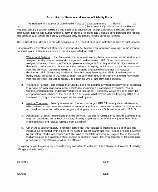 Liability Waiver forms Template Beautiful Sample Waiver Of Liability 8 Examples In Pdf Word