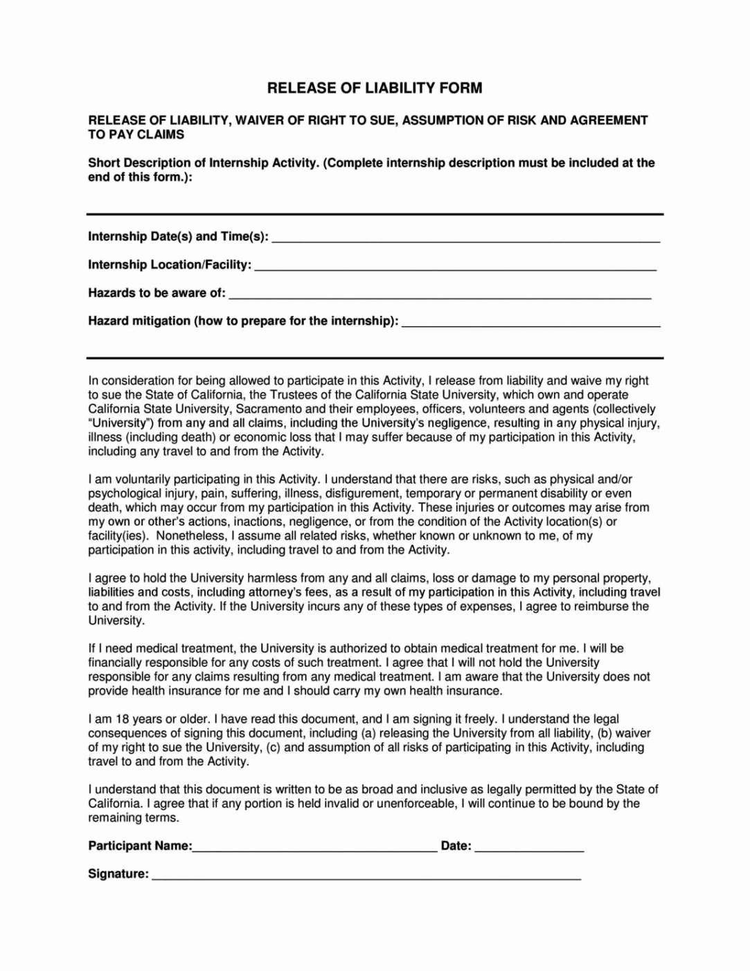 Liability Waiver forms Template Elegant General Liability Release form Template Sampletemplatess