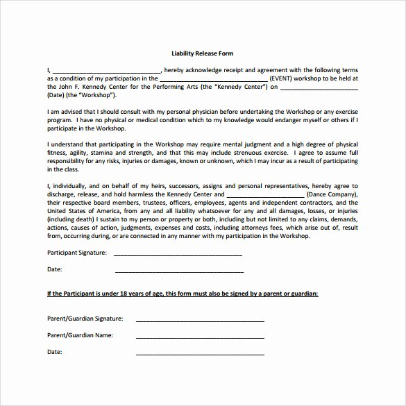 Liability Waiver forms Template Elegant Sample Liability Release form Examples 9 Download Free