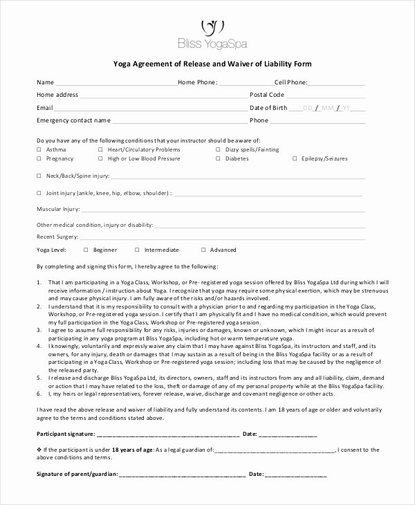 Liability Waiver forms Template Fresh General Liability Release form Template Pics – General