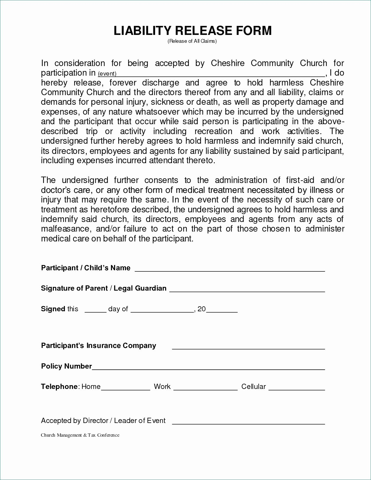 Liability Waiver forms Template Fresh General Liability Waiver form Image – General Liability