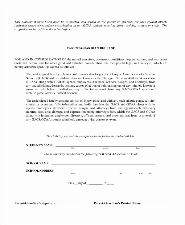 Liability Waiver forms Template Fresh Sample Liability Waiver form 10 Examples In Word Pdf
