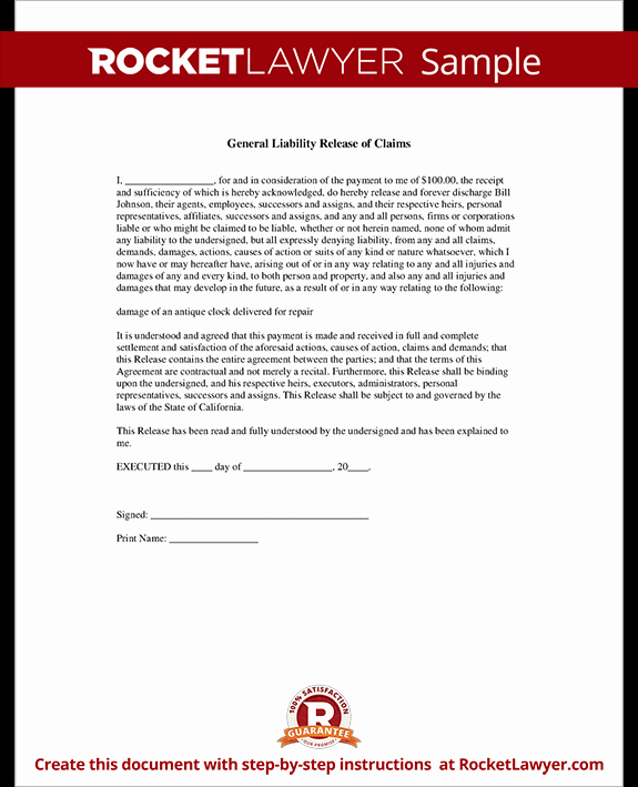 Liability Waiver forms Template Inspirational General Liability Release Of Claims form