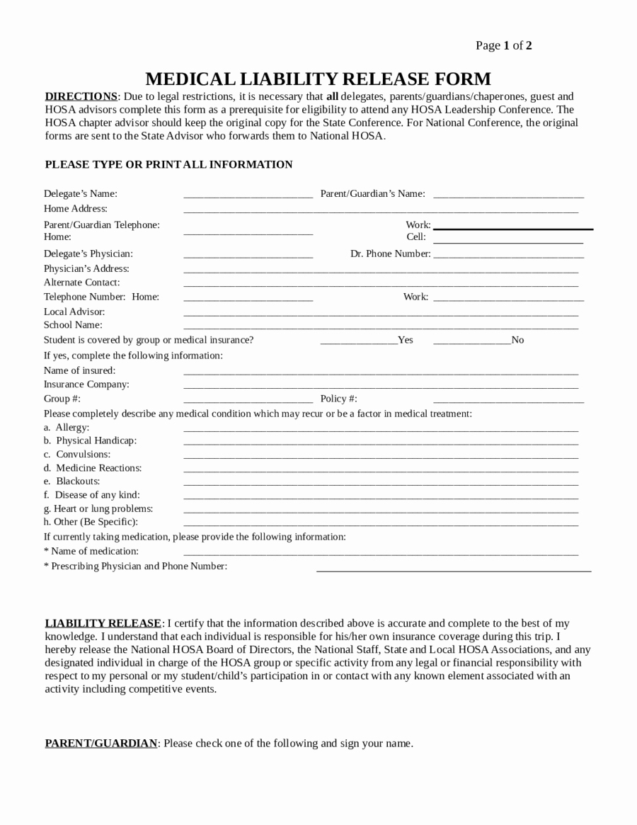 Liability Waiver forms Template New Liability Release form Template