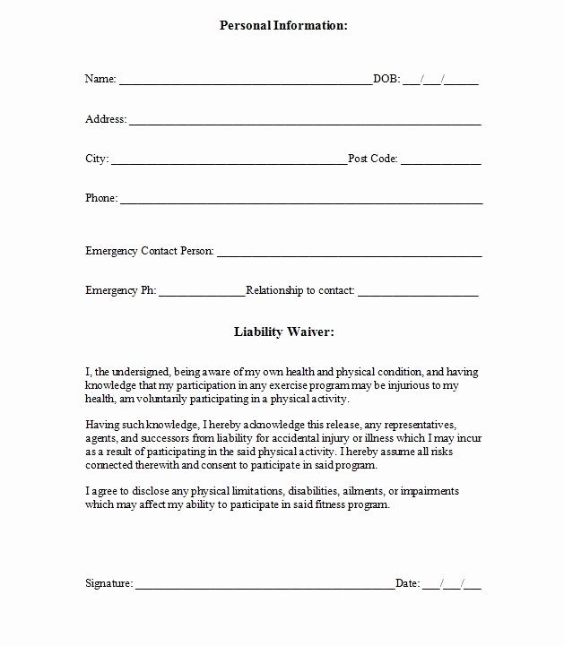 Liability Waiver forms Template New Printable Sample Release and Waiver Liability Agreement