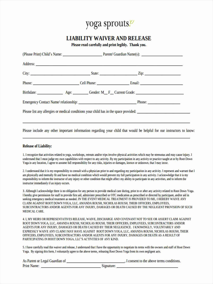 Liability Waiver forms Template Unique 29 Sample Liability forms
