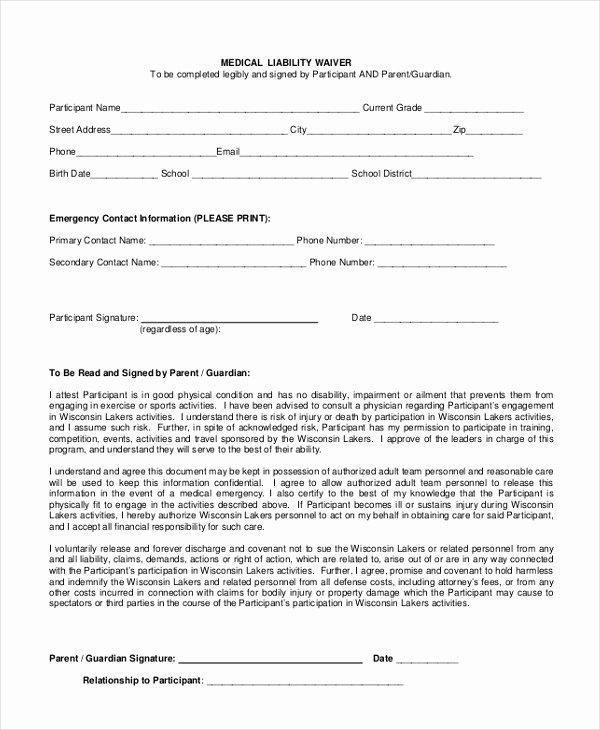 Liability Waiver forms Template Unique Sample Liability Waiver form 11 Free Documents In Pdf