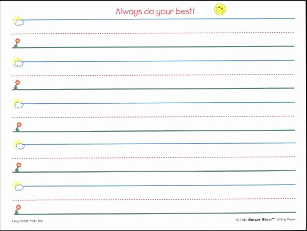 Line Paper for Kindergarten New Primary Handwriting Paper