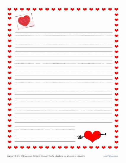 Lined Letter Writing Paper Beautiful Valentine S Day Writing Paper for Kids
