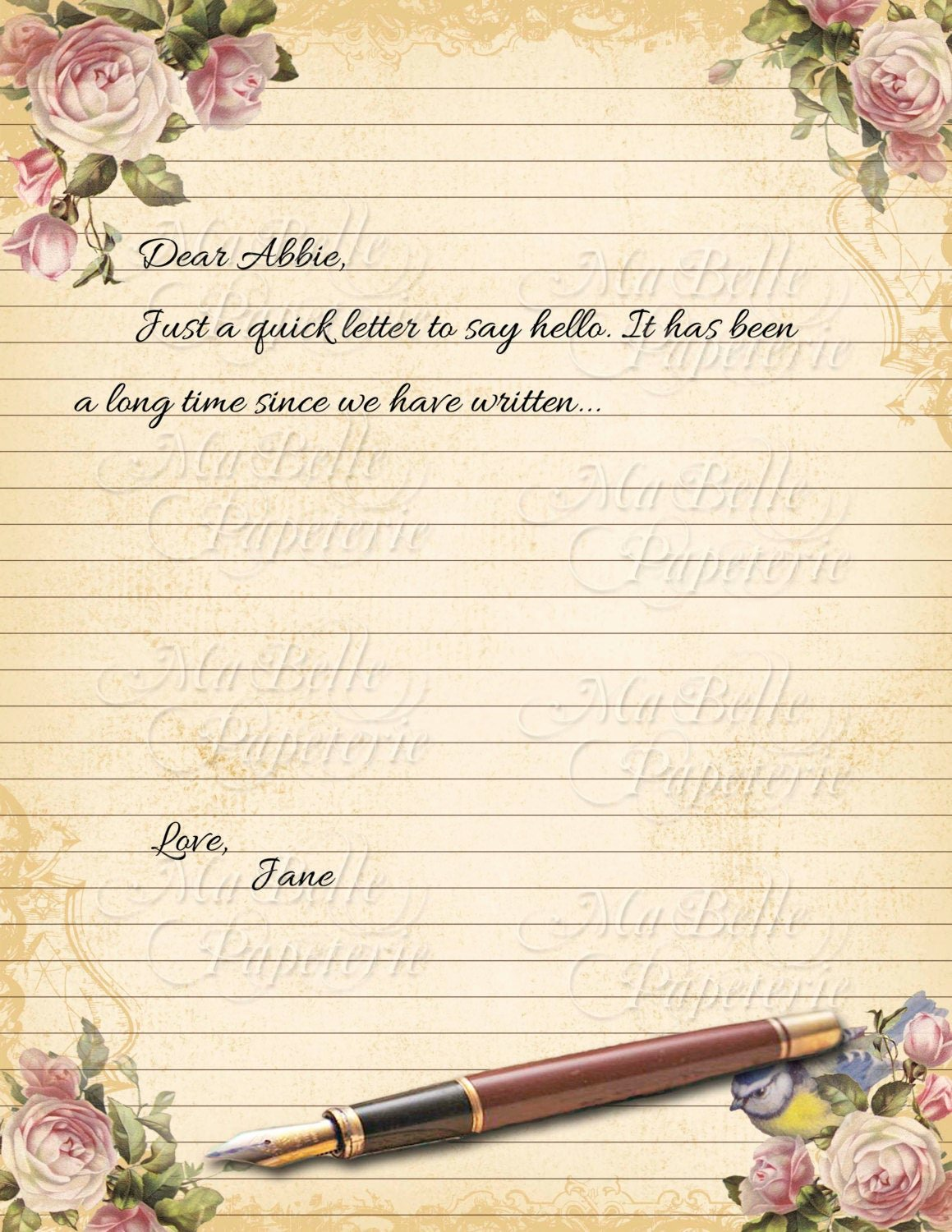 Lined Letter Writing Paper Beautiful Vintage Style Shabbby Chic Lined Letter Writing Paper with