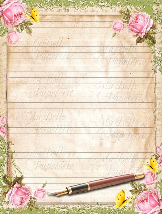 Lined Letter Writing Paper Luxury Vintage Style Shabbby Chic Lined Letter Writing Paper with