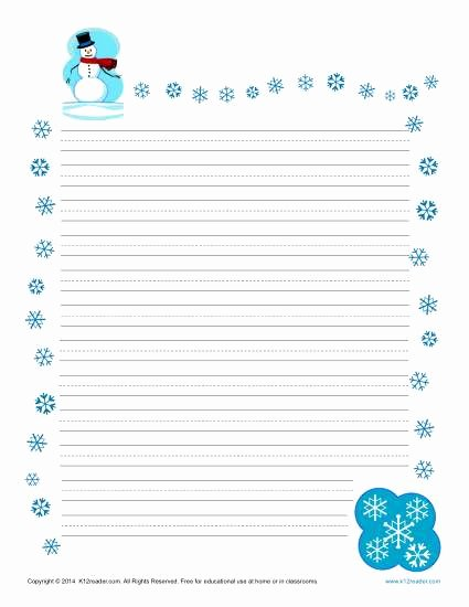 Lined Letter Writing Paper New Winter Printable Lined Writing Paper