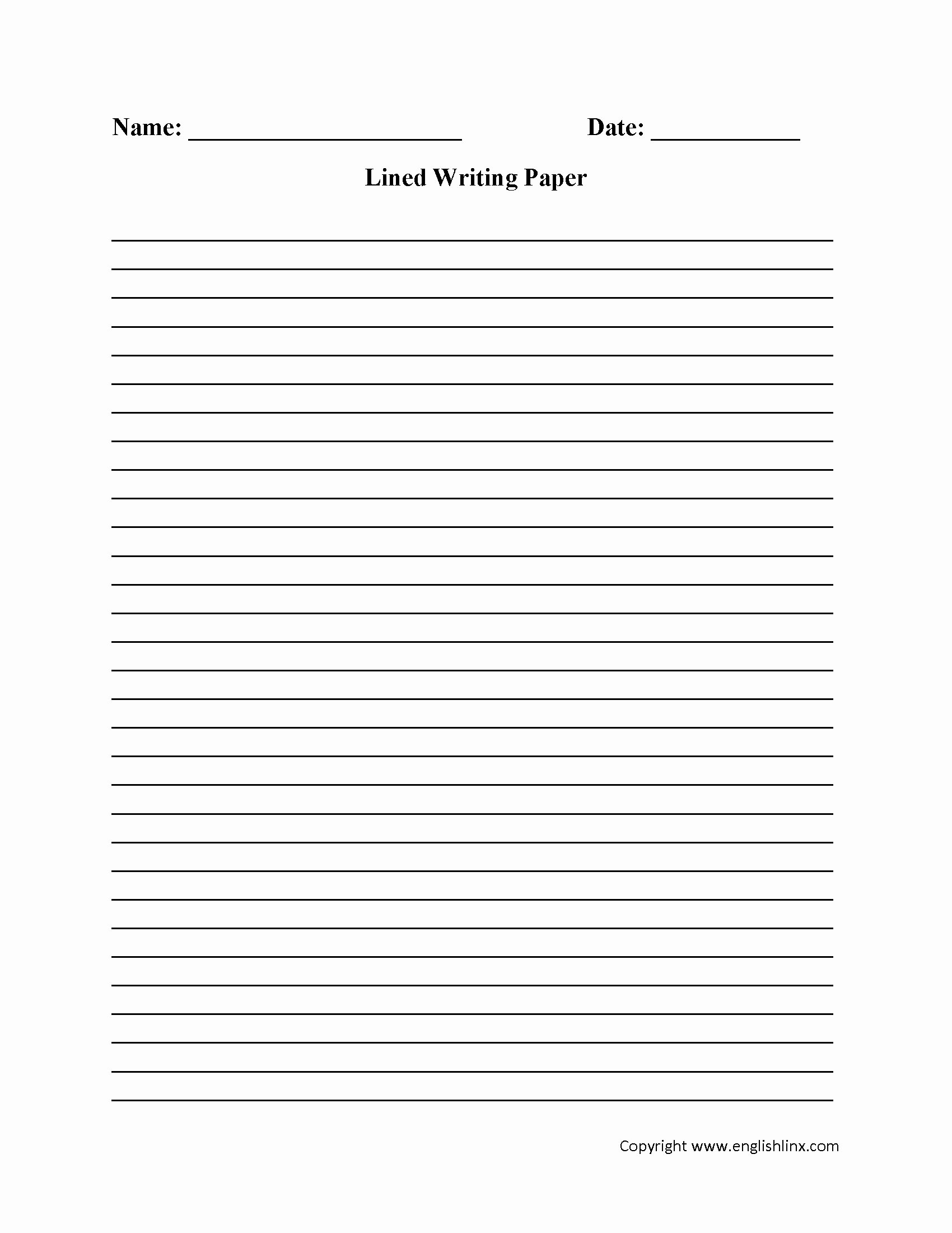 Lined Writing Paper Awesome Free Printable Lined Paper for Kids Writing