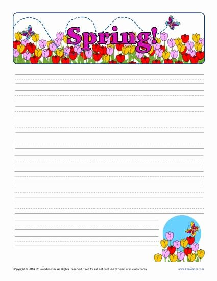 Lined Writing Paper for Kids Lovely Spring Printable Lined Writing Paper