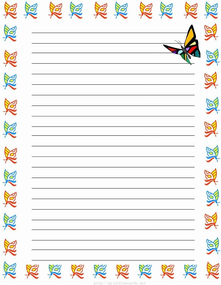 Lined Writing Paper for Kids Luxury Girl butterflies Free Printable Kids Stationery Free
