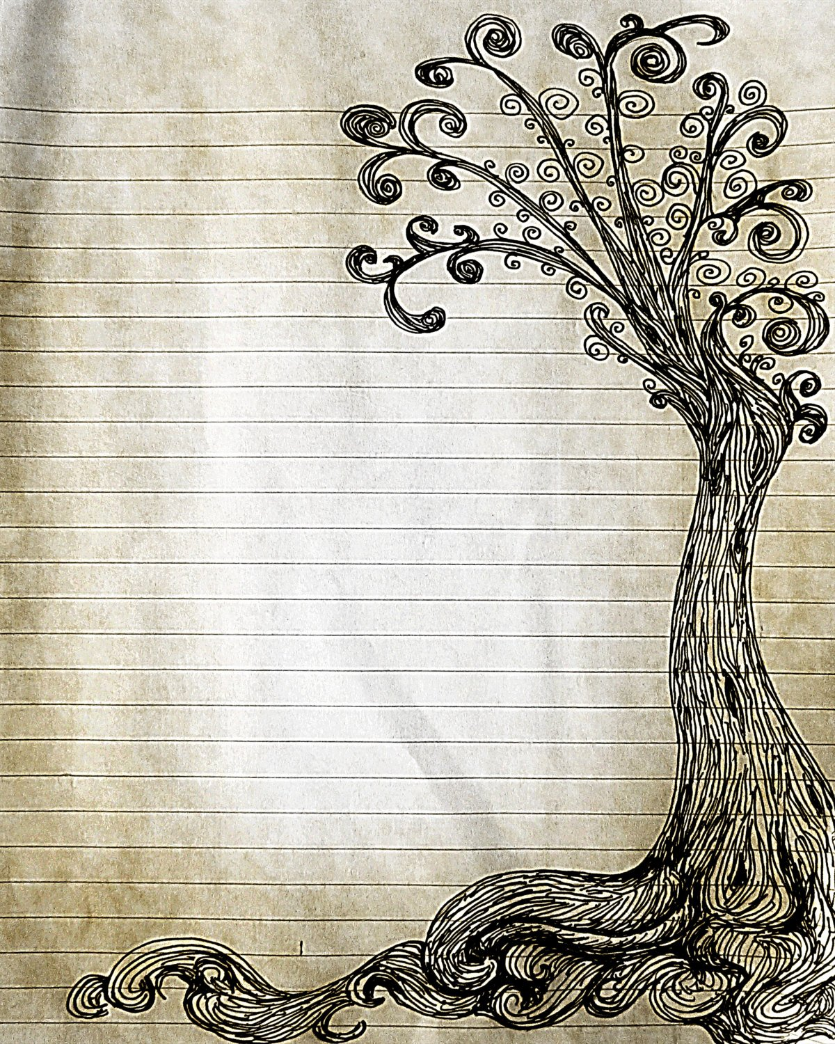 Lined Writing Paper Inspirational Printable Pen and Ink Tree Drawing Lined Journal Page Digital