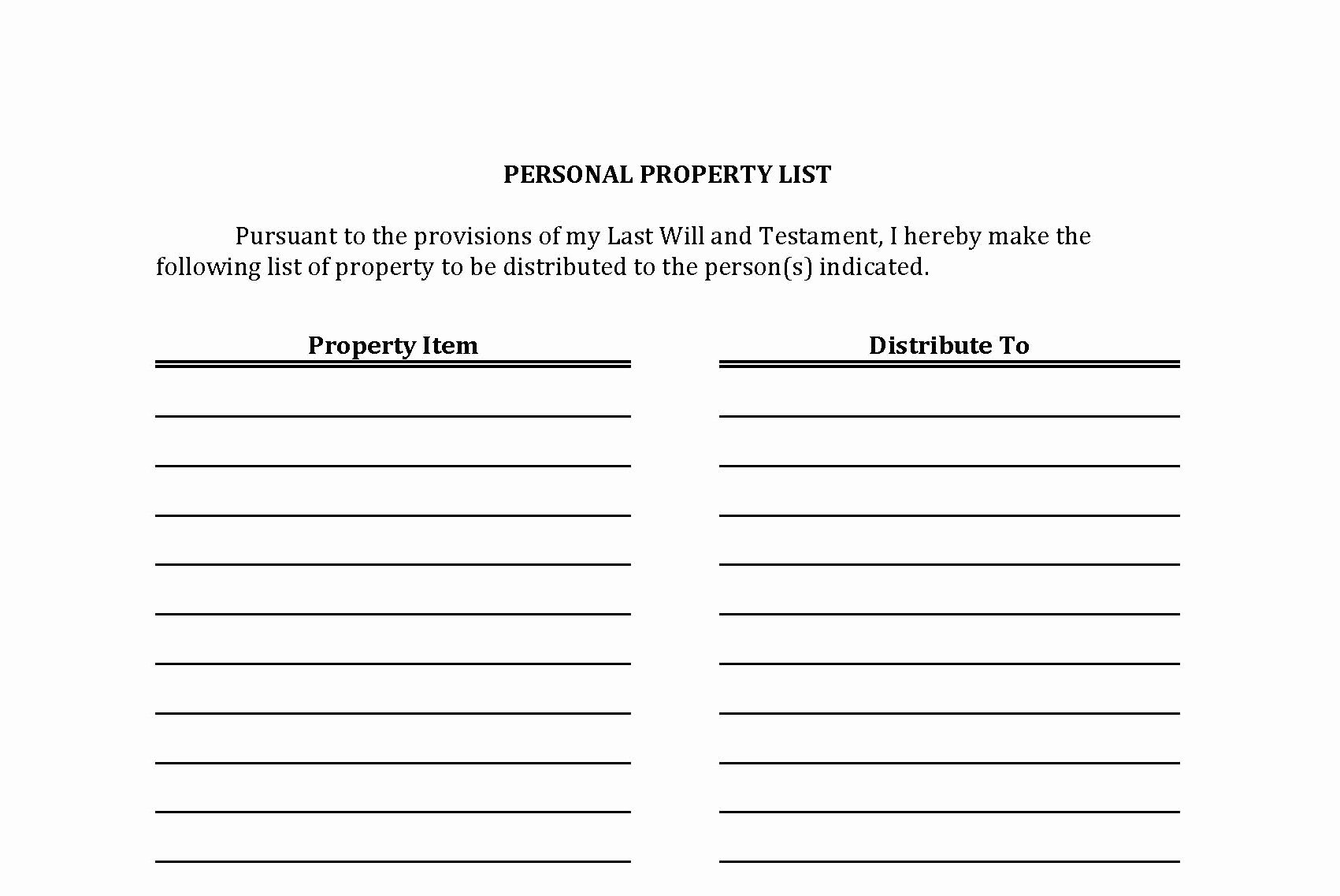 List Of Personal assets Elegant the Personal Property List An Important Part Of Your Plan