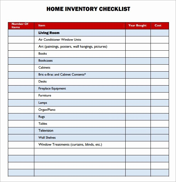 List Of Personal assets Lovely Sample Property Inventory Template 9 Free Documents