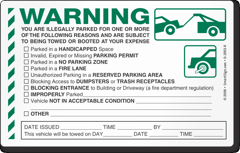 Log Book Violation Warning Letter Lovely Parking Violation & towing Stickers – Stop Free Loaders