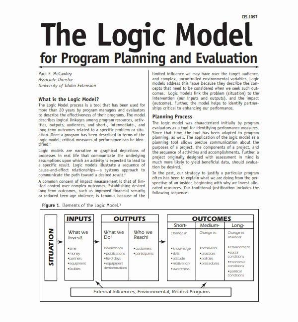 Logic Model Template Word Beautiful 5 Logic Model Templates Word Pdf