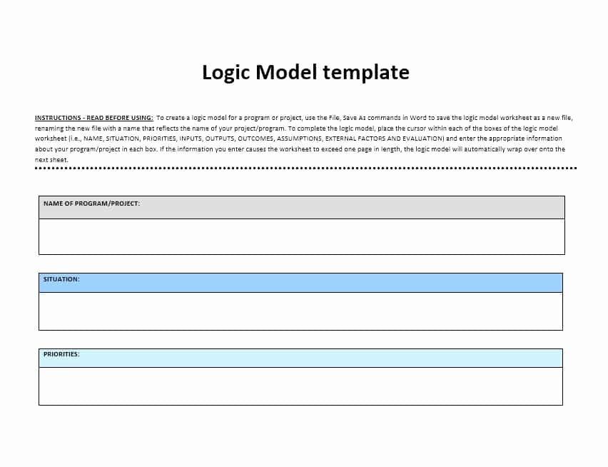 Logic Model Template Word Fresh 11 Logic Model Templates