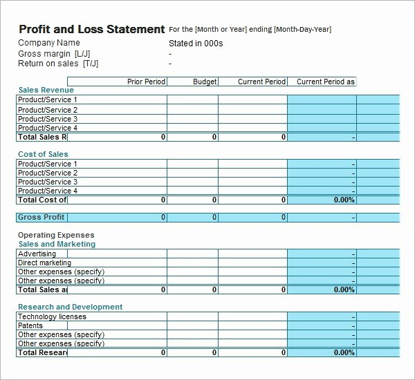 Loss and Profit forms Lovely Profit and Loss Template 20 Download Free Documents In
