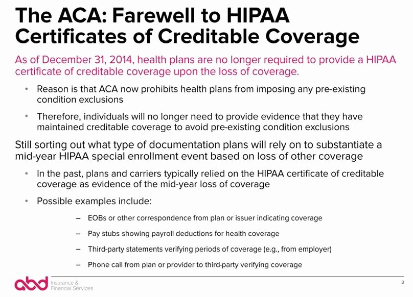 Loss Of Coverage Letter Template Beautiful Documenting Prior Coverage after Hipaa Certs Abd