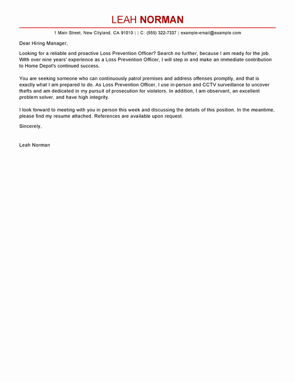 Loss Of Coverage Letter Template Best Of Free Loss Prevention Ficer Cover Letter Examples