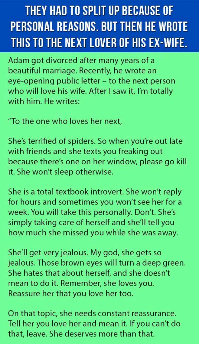 Love Letter to Wife Fresh Ex Husband Writes the Best Letter Ever to the Next Man who