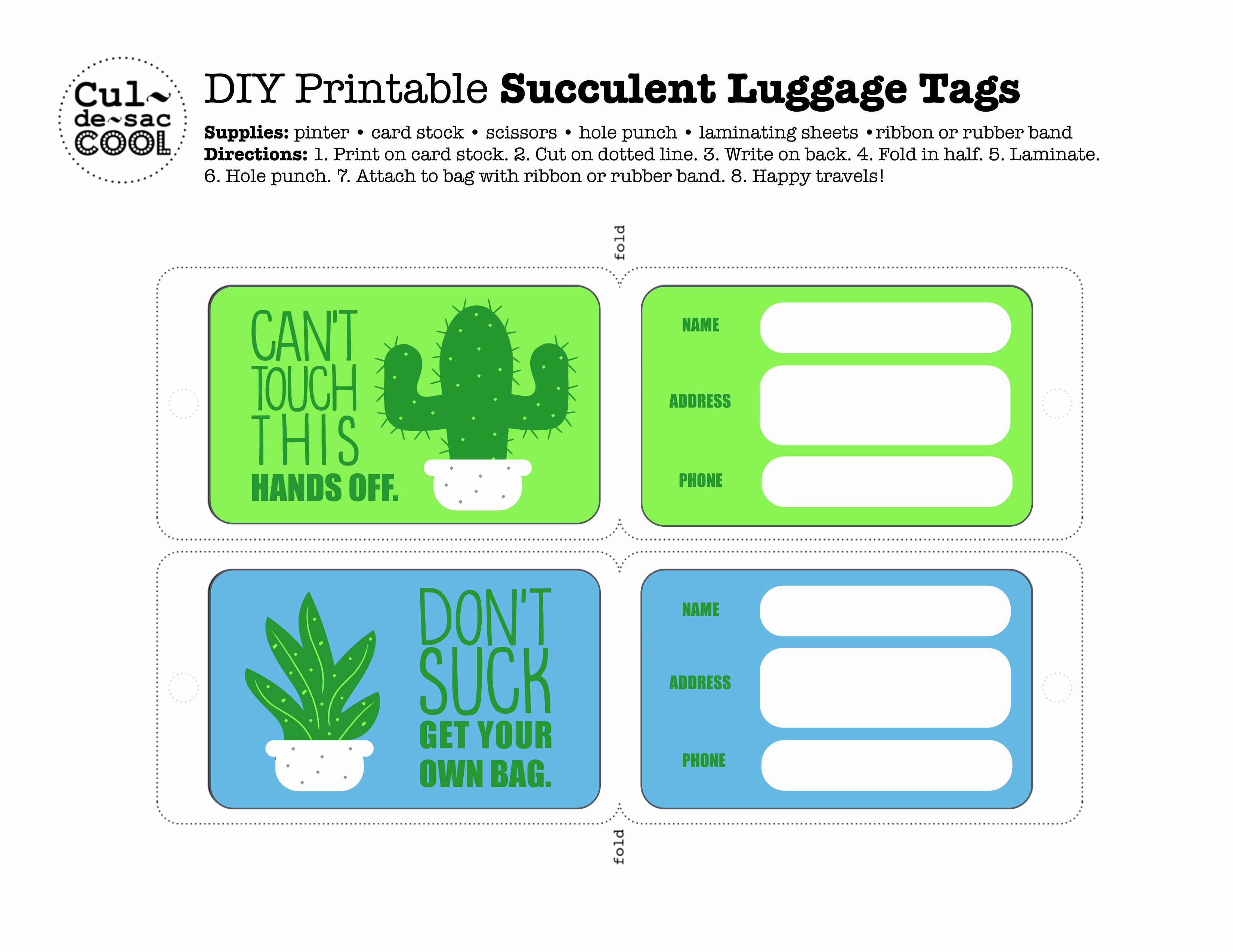 Luggage Tag Template Free Printable Best Of Diy Printable Succulent Luggage Tags