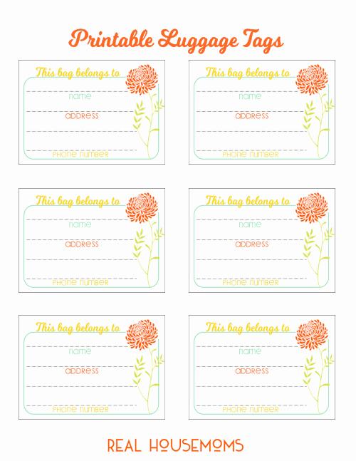 Luggage Tag Template Free Printable Fresh Printable Luggage Tags ⋆ Real Housemoms