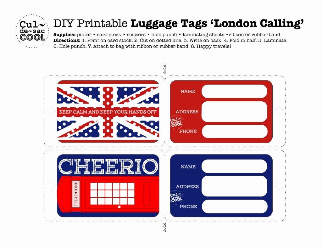 Luggage Tag Template Free Printable Luxury Diy Printable Luggage Tags 'london Calling'