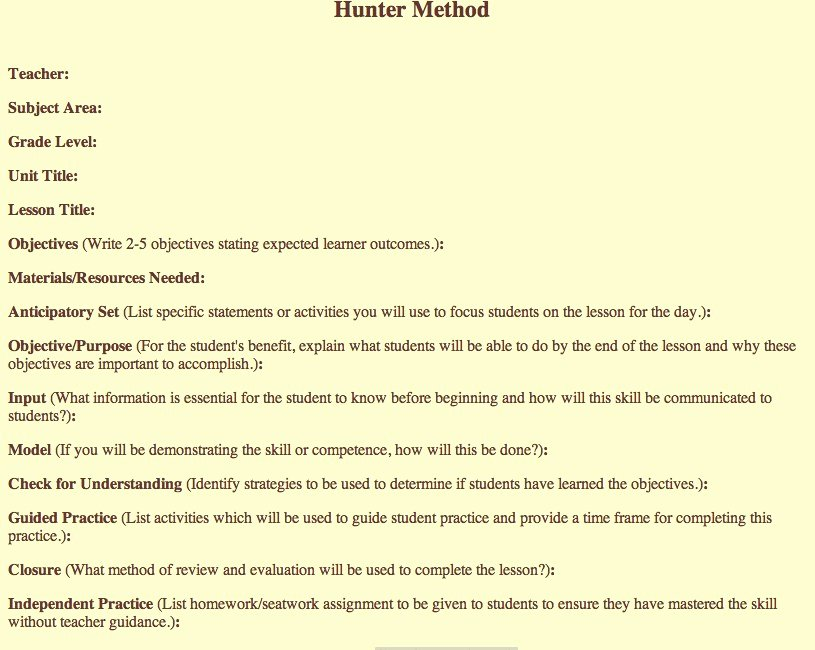 Madeline Hunter Lesson Plans Beautiful Madeline Hunter Lesson Plan Template