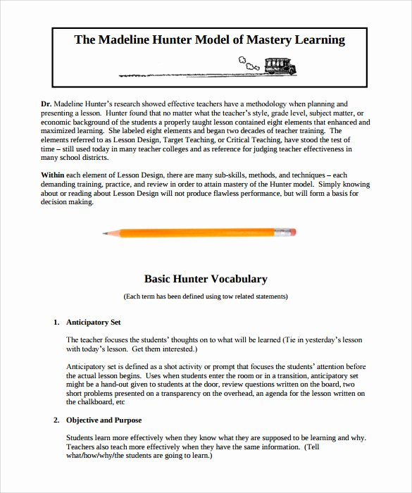 Madeline Hunter Lesson Plans Beautiful Sample Madeline Hunter Lesson Plan – 11 Documents In Pdf