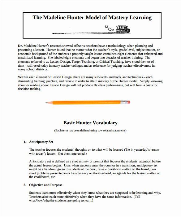 Madeline Hunter Lesson Plans Beautiful Sample Madeline Hunter Lesson Plan – 11 Documents In Pdf