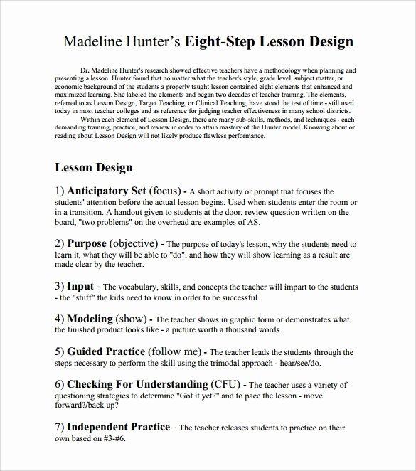Madeline Hunter Lesson Plans Best Of Sample Madeline Hunter Lesson Plan – 11 Documents In Pdf