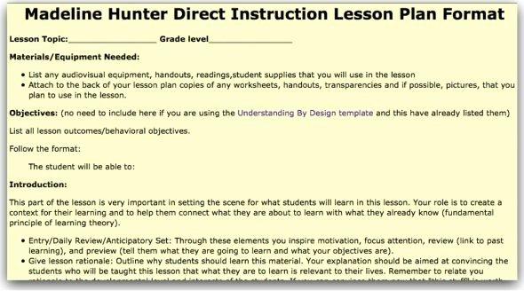 Madeline Hunter Lesson Plans Elegant Madeline Hunter Lesson Plan Template Model
