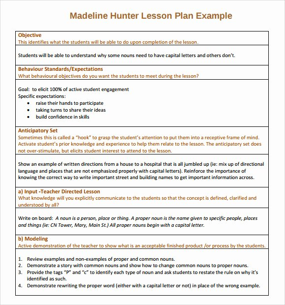 Madeline Hunter Lesson Plans Elegant Sample Madeline Hunter Lesson Plan – 11 Documents In Pdf