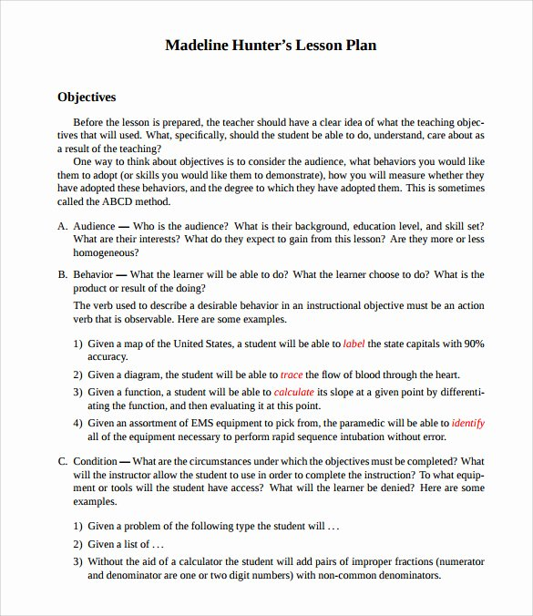 Madeline Hunter Lesson Plans Elegant Sample Madeline Hunter Lesson Plan Templates – 10 Free