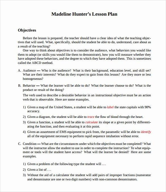 Madeline Hunter Lesson Plans Elegant Sample Madeline Hunter Lesson Plan Templates – 10 Free