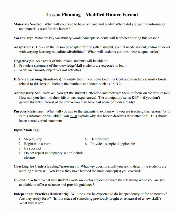 Madeline Hunter Lesson Plans Fresh Sample Madeline Hunter Lesson Plan – 11 Documents In Pdf