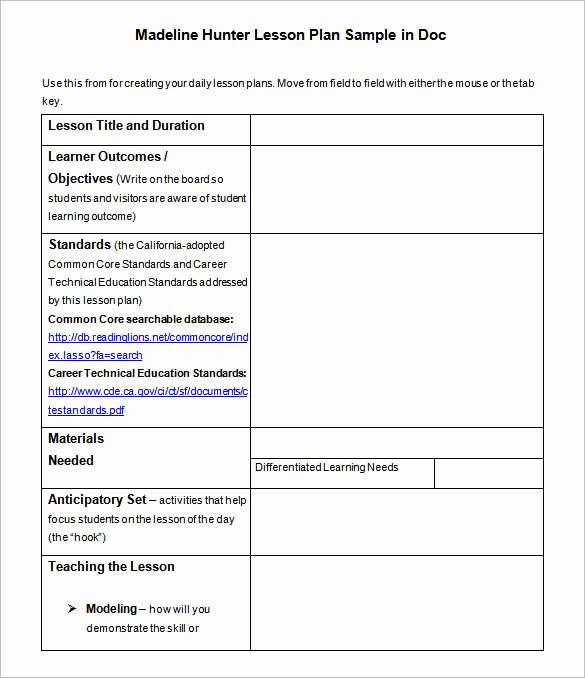 Madeline Hunter Lesson Plans Inspirational Lesson Plan Template – 43 Free Word Excel Pdf format