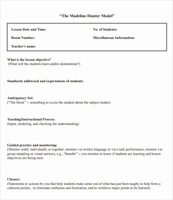 Madeline Hunter Lesson Plans Inspirational Sample Madeline Hunter Lesson Plan – 11 Documents In Pdf